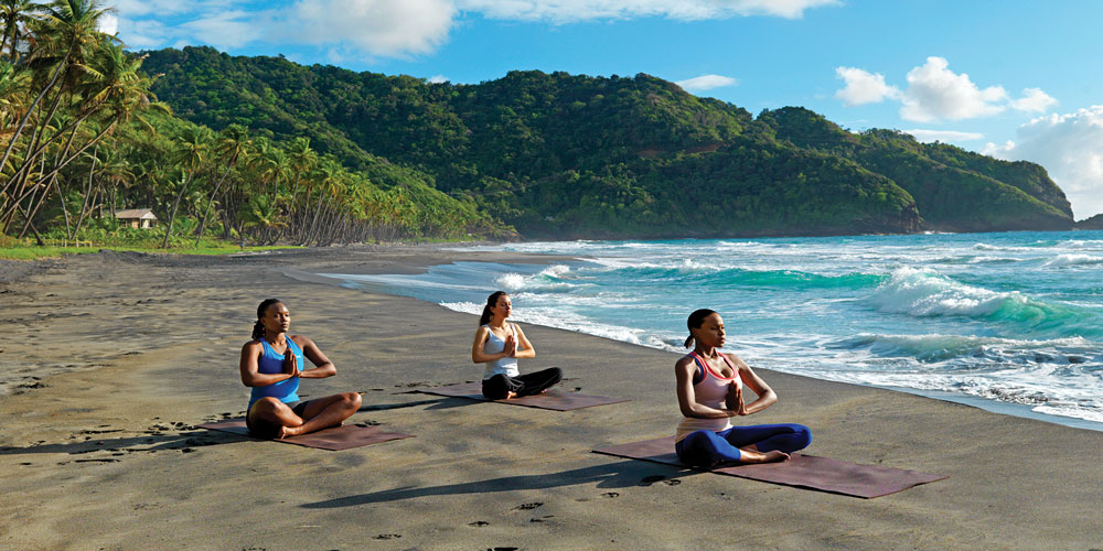 Yoga on the beach in Dominica